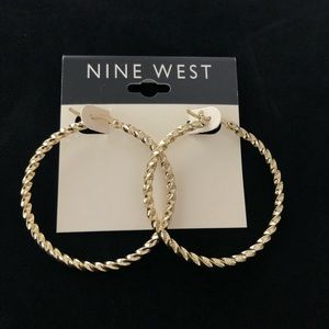 New Nine West Gold Large Hoops Earrings Twisted